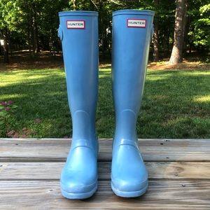 Blue Tall Gloss Hunter Boots